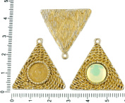 2pcs Czech Matte Gold Patina Antique Silver Tone Round Pendant Cabochon Settings Triangle Bezel Blank Tray Metal Base Fit Cameo 10mm