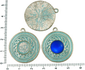 2pcs Czech Turquoise Blue Patina Antique Silver Tone Round Pendant Cabochon Settings Greek Bezel Blank Tray Metal Base Fit Cameo 10mm