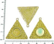 2pcs Czech Yellow Patina Antique Silver Tone Round Pendant Cabochon Settings Triangle Bezel Blank Tray Metal Base Fit Cameo 10mm