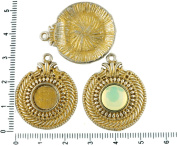 2pcs Czech Matte Gold Patina Antique Silver Tone Round Pendant Cabochon Settings Egypt Bezel Blank Tray Metal Base Fit Cameo 10mm
