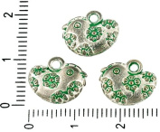 8pcs Czech Green Turquoise Patina Antique Silver Tone Easter Egg Hen Chicken Bird Animal Charms Bohemian Metal Findings 15mm x 13mm