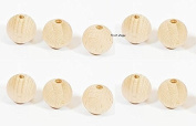 10 x 20mm First Steps Natural Round Wooden Beads Jewellery Spacer with 4mm Hole