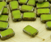 8pcs Picasso Brown Opaque Olive Olivine Green Table Cut Flat Rectangle Czech Glass Beads 8mm x 12mm
