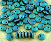 40pcs Matte Crystal Celsian Metallic Light Vitrail Full Rough Rustic Etched Frosted Large Lentil Czech Glass Beads Flat Round One Hole 8mm