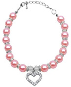 Mirage Pet Products 8 to 25cm Heart and Pearl Necklace, Medium, Rose