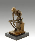 Modern Bronze Skeleton / Sculpture - The Thinker - after Auguste Rodin - signed by Milo