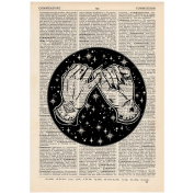 Pinky Promise Galaxy Dictionary Word Art Print OOAK, Quirky, Alternative Vintage