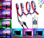 LED TV Backlight – HFAN Multi-colour 60leds Flexible 5050 RGB Waterproof USB LED Strip Light, TV Background Lighting Kit with 5V USB Cable And wireless Controller For TV/PC HDTV etc