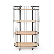 High trolley Trolley pawlonia veneered MDF and metal, colour wood and black. For storage. Nordic style. 136x83x40 cm.