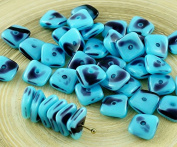 20pcs Blue Opal Purple Spotted Flat Waved Square Chip Washer Czech Glass Beads 10mm x 4mm
