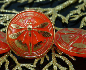 Handmade Czech Glass Buttons Large Gold Dragonfly Opaque Orange Size 14, 31.5mm 1pc