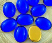 4pcs Crystal Sapphire Blue Oval Domed Czech Glass Cabochon 18mm x 13mm