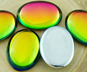 2pcs Crystal Rainbow Dichroic Vitrail Yellow Green St Patrick Day Oval Domed Czech Glass Cabochon 25mm x 18mm