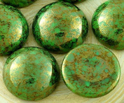 SALE 2pcs Picasso Terracotta Bronze Green Round Domed Czech Glass Cabochon 18mm