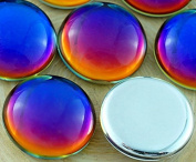 2pcs Crystal Rainbow Dichroic Vitrail Volcano Blue Purple Yellow Round Domed Czech Glass Cabochon 18mm