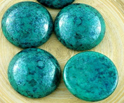 SALE 2pcs Terracotta Turquoise Green Round Domed Czech Glass Cabochon 20mm