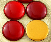 1pcs Crystal Ruby Red Round Domed Czech Glass Cabochon 25mm