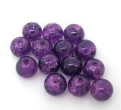 200 Purple Crackle Glass Beads 6mm Jewellery Making Crafts J04928
