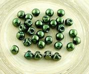 30pcs Metallic Green Lustre Mushroom Button Czech Glass Beads 6mm x 5mm
