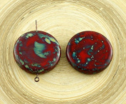 2pcs Large Picasso Red Black Brown Flat Coin Pendant Focal Czech Glass Beads 26mm