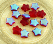 12pcs Matte Crystal Ruby Red AB Half Czech Glass Star Beads 12mm x 12mm
