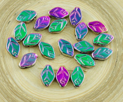 30pcs Metallic Opaque Dichroic Vitrail Purple Green Czech Glass Carved Leaf Flower Beads 7mm x 12mm