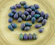 40pcs Matte Metallic Purple Red Iris Tear Drop Czech Glass Teardrop Beads 9mm x 6mm