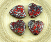 2pcs Large Picasso Rustic Etched Silver Red Czech Glass Heart Beads Focal Pendant Valentines Wedding Halloween 22mm