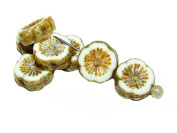 6pcs 12mm Hawaiian Flower Beads - Czech Carved Glass Beads Table Cut, White Chalk Picasso