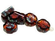 6pcs 12mm Hawaiian Flower Beads - Czech Carved Glass Beads Table Cut, Topaz Travertine Dark
