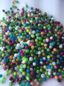 The Bead and Button Box - 40g (over 400) Glass Marbled Mottled Beads 4mm. Ideal for Jewellery Making and other Crafts