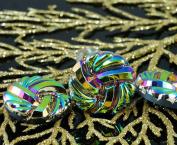 Handmade Czech Glass Buttons Large Metallic Spiral Vitrail Green Size 12, 27mm 1pc