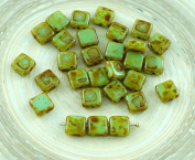 30pcs Picasso Brown Turquoise Green Flat Square Tile One Hole Czech Glass Beads 6mm x 6mm