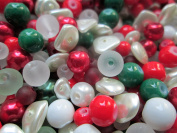 50g of Christmas Bead Mix - Red, White and Green - 1st4Beads