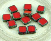 Picasso Brown Coral Red Table Cut Rustic Square Flat Czech Glass Beads 10mm 10pcs