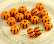 8pcs Opaque Orange Black Striped Czech Glass Squashed Melon Beads Halloween Pumpkin Fruit Fall 8mm x 11mm