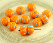 8pcs Opaque Orange Turquoise Striped Czech Glass Squashed Melon Beads Halloween Pumpkin Fruit Fall 8mm x 11mm