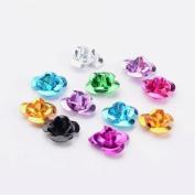 50pcs Mix Joblot Aluminium Rose Flower Spacer Beads Embellishments Craft ~ 12mm