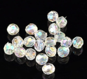 The Bead and Button Box - 250 Sparkling Clear AB Round Faceted Acrylic Crystal Spacer Beads, 6mm Bling
