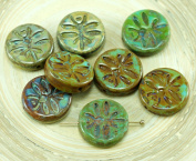 4pcs Picasso Turquoise Green Brown Mixed Rustic Dragonfly Flat Coin Round Czech Glass Beads 15mm
