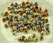 NEW SHAPE California Gold Rush Bronze Extra Small Mushroom Button Czech Glass Beads 4mm x 3mm 60pcs