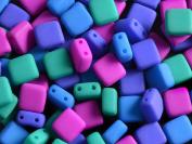 40 pcs Czech Glass Tile Beads 2 Holes ESTRELA NEON (UV Active) 6x6x3.2 mm Dark Mix