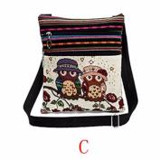 Casual Ladies Girls Embroidered Owl Print Tote Bags Women Zipper Shoulder Bag Handbags Postman Package