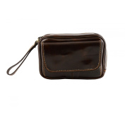 Made In Italy Genuine Leather Clutch For Men Colour Dark Brown Tuscan Leather - Man Bag