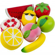 Jumbo Fruit Squishies Slow Rising Toys Extra Large Squishy Set of 8. Perfect for Indoor Games, House Decoration, Education, Stress Relief. Strawberry Cake Apple Peach Lemon Banana Pineapple Watermelon