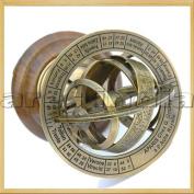 Ares India 13cm Nautical Brass Armillary Sphere World Globe Rosewood Base Table Decor Gift