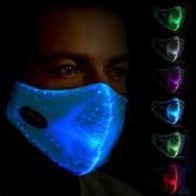 LED Dust Mask 7 Colours Luminous Light for Men Women Rave Mask Music Party Christmas Halloween Light Up Mask (White)-SAFEBAO