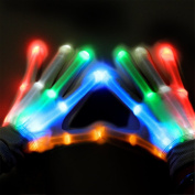 LED Gloves, SubClap Colourful Flashing LED Finger Lighting Gloves with 6 Light Flashing Modes for Party, Clubbing, Rave, Disco, and Halloween