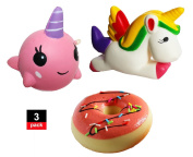J2Z Slow Rising Squishies 3 Pack, Rainbow Unicorn, Donut, Narwhal, Scented, Cute Kawaii Soft Squishy Toy, Stress Reliever, Squeeze Soft Toy Kids Gift Fidget Novelty Toys