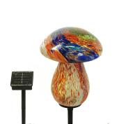 Solar Glass Mushroom with 10 LED Lights